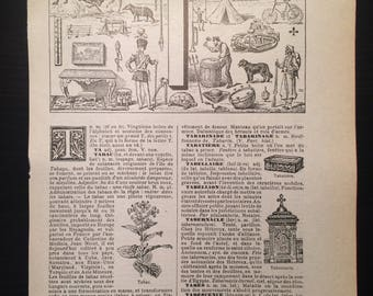 Letter T - Initial Print - Antique French Dictionary Page - Original 1940s Lithograph