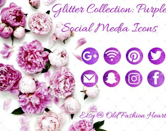 Glitter Collection : Purple Social Media Icons