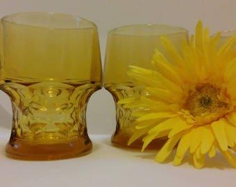 Vintage Amber Georgian Juice Glasses Anchor Hocking 4 oz. retro kitchen barware Fairfield glassware, great gift for retro lover