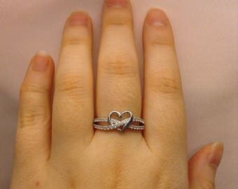 Heart Ring ~ Promise Ring For Her ~ Cubic Zirconia Ring ~ Gift for Her ~ Girlfriend Ring