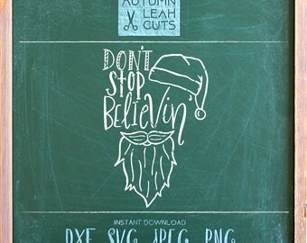 Santa Beard Svg, Hand Drawn Cut File -SVG, PNG, Jpeg, DXF cut file for Silhouette, Cricut- Instant Download, Hand Lettered, Christmas