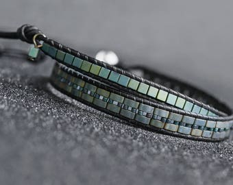 Leather Wrap Bracelet Men Double Wrap Leather Bracelet Men Adjustable Miyuki Tila Bracelet Blue Bracelet for Men Hematite Wrap Bracelet