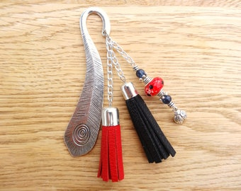 Original bookmark in metal and red - black leather with Ladybug charm