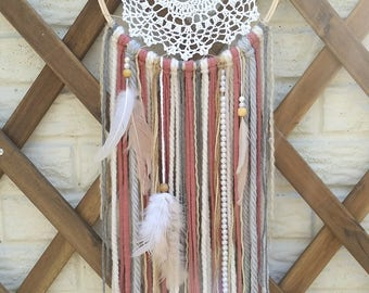 White & Pink Doily Dream Catcher