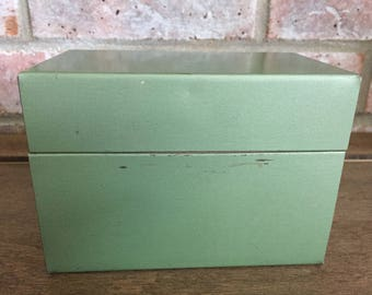 Vintage Metal Index Card Box