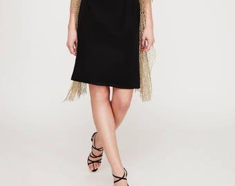 Rock Sapphire: in Black. Festive silk skirt. 100% silk. Olcay Krafft Fashion