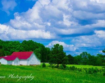 Farm Red Roof Sky Clouds Upstate Greenville SC White Picket Fence