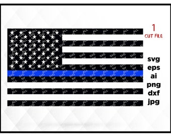 American flag thin blue line, SVG instant download design for cricut or silhouette USA SVG Cut File