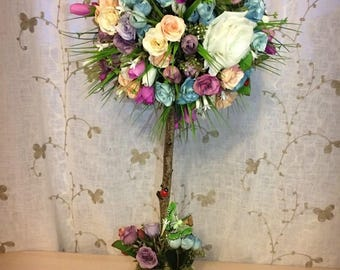 Topiary Flower Tree - handcrafted from artificial crocuses & roses of various sizes