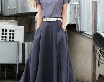 maxi skirt, long skirt, gray skirt, black skirt, Pleated Skirt, woman skirt, Full Skirt, flared skirt,pocket skirt, made to order