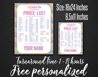 Price List for independent fashion retailer | Mandala Style | Price Poster | Price Sign | wall sign-18x24 poster - 8,5x11 home printing