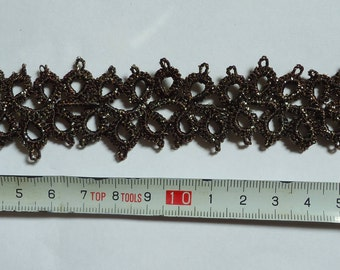 "Hand-Tatted Bracelet ""Black Chocolate"" with Lurex and Carabiner Clasp – Romantic, Bridal, Vintage, Retro, Wedding"