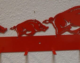 Razorback Hog Family Hat Rack
