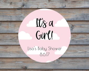 Baby Shower Favor Label - Personalized It's a Girl Label - Round Baby Shower Tag - Baby Shower Sticker