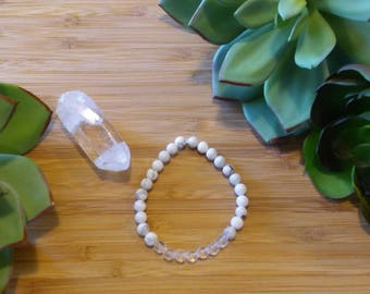 Realese Anger/Stress, Enhance Memory, Creativity, Amplify Energy- Howlite & Clear Quartz Stretch Bracelet