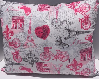 White, Pink and Gray Paris Print pillow cover  16x20