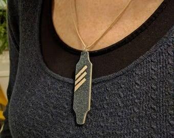 Wooden longboard necklace