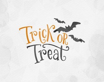 "SVG ""Trick Or Treat""  Printable Cricut Silhouette Halloween svg, trick or treat SVG,  Svg cut files, Quote svg, Handlettered svg Cut File"