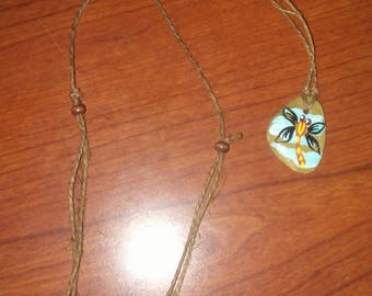 Hand painted Dragonfly Tennessee rock necklace