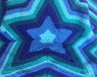 Blazing Blue Star Baby Blanket
