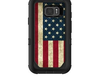 Skin Decal Wrap for Samsung Galaxy S7 Active Otterbox Defender Case Vintage American Flag