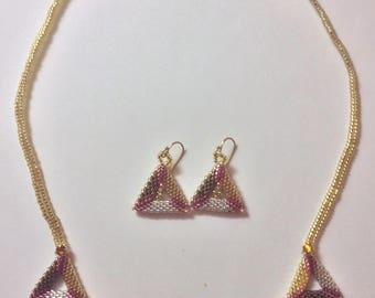 Tri-Gold Triangles Necklace and Earrings