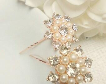 Bridal hair pins, rose gold hair pins, wedding hair pins, pearl and rhinestone hair pins, bridesmaids hair pins, gold Hair pins,