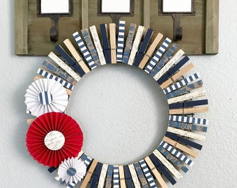 Clothespin Wreath - Nautical Wreath - Summer Wreath - Beach Wreath - July 4th Wreath - Mothers Day Wreath - Patriotic Wreath - Door Decor
