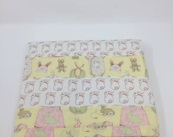 Bunny Quilt for a Baby Girl, 100% Cotton, Pink and Yellow, White Bunnies