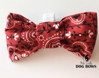 Red Bandana Dog Bow Tie - Western dog bowtie - Red dog bow - Bandana dog bowtie - Texas dog bow
