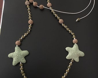 Starfish lava necklace