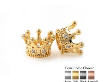 Crown Charm Beaded Brass Metal Pave CZ fit 8mm Bracelet Spacer Bead Original Jewelry Making 1PCS