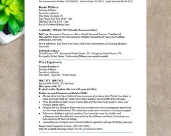 Federal Resume Template, ATS Resume Template, Instant Download Professional Resume Template for Word, Cover Letter, References, CV Template