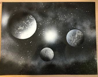 Black and White Planet Spray Paint Art