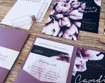 Magnolia flower wedding invitations