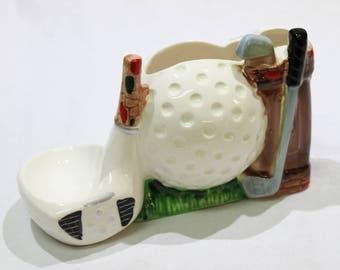 Vintage A RUBENS ORIGINAL Golf Planter, Golf Desk Organizer, Golf Club, Ball, Bag