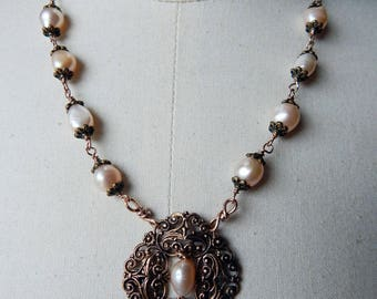Antique Filigree Buckle Lavaliere Pendant Assemblage Necklace with Pale Pink Freshwater Pearls