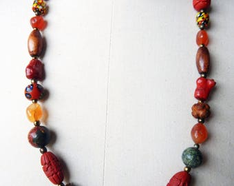 Vintage Carved Cinnabar and Trade Bead Necklace