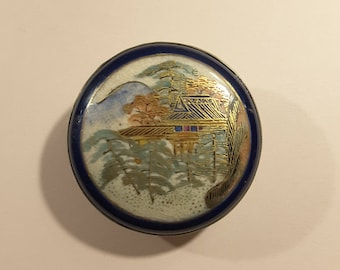 Large 1800's antique Satsuma hand painted button.