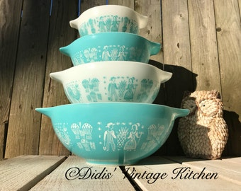 Butterprint FULL Set, Vintage Pyrex, Turquoise, Cinderella Mixing Nesting Bowls, Amish Print, 444, 443, 442, 441, Country Kitchen