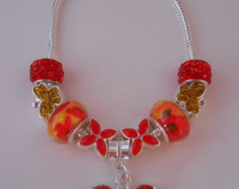 Red and Yellow Butterfly 925 Sterling Silver Charm Bracelet
