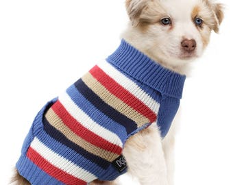Dog Knit Jumper Blue Multi-stripe Design