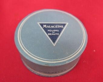 ancienne boite à poudre de collection, Malacéïne poudre de beauté par Monpelas à Paris,nuance Ocre,caja de polvo de colección,old powder box