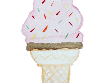 Whimsical Watercolor Soft Serve Ice Cream Cone