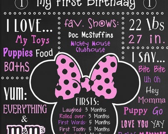DIGITAL Minnie Mouse birthday poster, Minnie Mouse printable, Minnie Mouse sign, Minnie Mouse birthday, Minnie mouse girl decor, ANY COLOR