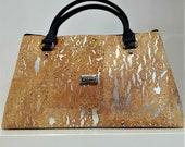 Cork Handbag - Natural Cork Bag with Silver Design - Cork Purse - Fine Cork Bag - Eco-friendly Shoulder Bag - 100% Genuine Natural Cork