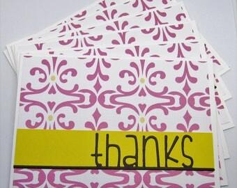 Thank You Card Set - Card Sets - Set of Six (6) - Thank You Card Set - Pink & Yellow Cards - Thanks Cards - Feminine Cards