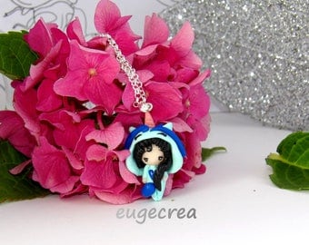 Necklace little brunette girl dressed as Unicorn polymer clay