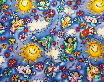 "Timeless treasures 23""L 59""W cotton fabric support living-love-caring-friendship-happiness OOP"