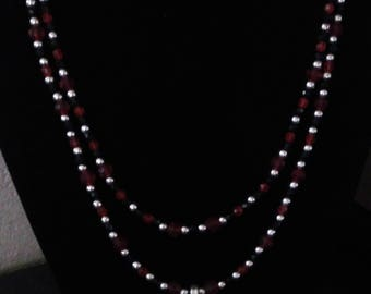 Red, black and silver pendant necklace